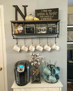 Coffee Bar Ideas - Looking for some coffee bar ideas? Here you'll find home coffee bar, DIY coffee bar, and kitchen coffee station. Coffee Nook, Coffee Bar Home, Coffee Wine, Coffee Bars, Starbucks Coffee, Iced Coffee, Coffee Drinks, Coffee Corner Kitchen, Bunn Coffee