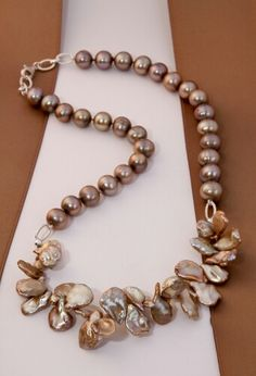 Almost round Freshwater pearls and Keshi Pearls - a beautiful combination