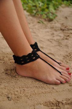 Black Crochet Barefoot Sandals-Anklet-Nude shoes-Foot por barmine