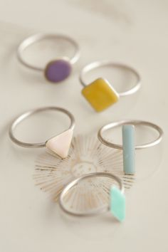 Kenichi Kondo jewelery in Pastel Prettiness by the style files… Enamel Jewelry, Jewelry Box, Jewelry Rings, Jewelry Accessories, Fashion Accessories, Jewelry Design, Jewelry Making, Enamel Rings, Boho Rings