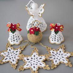 Ornamenti di Natale all'uncinetto 6 ornamenti di oro
