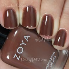 """""""Dea"""" is a gorgeously shiny hot cocoa colored creme that has a slight dustiness to it. This is such an amazing shade and it looks so sophisticated and elegant. I'm becoming a giant fan of brown polish! Brown Nail Polish, Zoya Nail Polish, Brown Nails, Nail Polish Colors, Pretty Nail Colors, Pretty Nails, Hair And Nails, My Nails, Beauty And The Beast Nails"""
