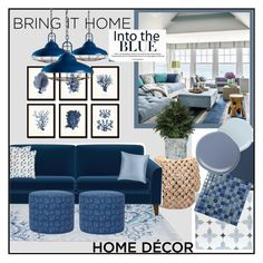"""Into The BLUE"" by jckallan ❤ liked on Polyvore featuring interior, interiors, interior design, home, home decor, interior decorating, John Lewis, Safavieh, Kim Salmela and Merola"