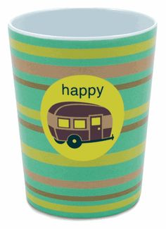 """Happy Camper Melamine Cup (plates available as well)   """"Gimmey stuff""""  or I will make my own clone"""