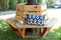 diy hexagon bench wrapped around tree