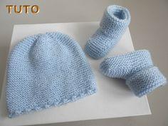 Explications tricot bébé, bonnet chaussons bleu mousse bb