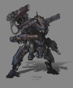This robot could be a comon NPC enemy as its quite a small enemy but well armed. There is room for improvement on this NPC as weapons could be removed or added to make its overall bot more powerful. Character Concept, Character Art, Character Design, Guerrero Dragon, Science Fiction, Mecha Suit, Arte Cyberpunk, Arte Robot, Cool Robots