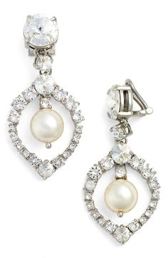 MIU MIU 'Classic' Crystal & Faux Pearl Drop Earrings. #miumiu #