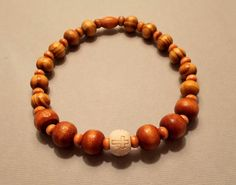 Men's Burly & Camel Brown Wood Cross Stretch Bracelet by SoFineDesigns on…