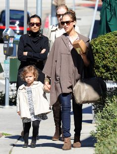 Jessica Alba Ankle boots  Jessica Alba kept her look casual with Women's tan suede Eliotte Toggle Ankle Boot. It was a cozy addition to her causal look.  Brand: 80%20  Jessica Alba Leather Tote  Jessica Alba went to lunch carrying a taupe leather tote with gold studs.   browse looks: