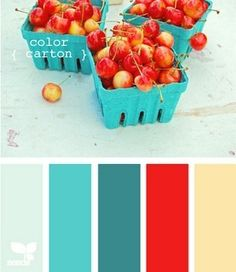color carton Color Palette by Design Seeds Design Seeds, Colour Schemes, Color Combinations, Colour Palettes, Paint Schemes, Pantone Azul, Deco Restaurant, Cream Walls, Red Design
