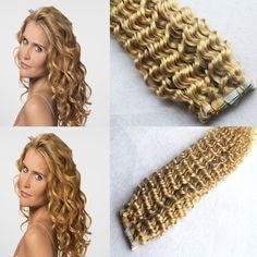 Mega hair Fita Adesiva cabelo Humano Remy encaracolado  51 cm  40 pcs 100 gramas cores #1 ,#33,#613 //Price: $510.00 & FREE Shipping