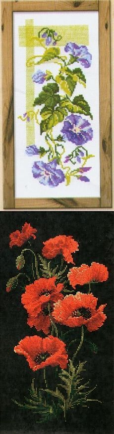 Вертикальные картины вышивки