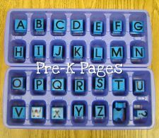 Organize your Alphabet Stamps! Store alphabet stamps in ice cube trays to keep them organized. No more digging for letter stamps in a bucket or bin!