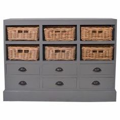 """Perfect for stowing extra table linens or treasured trinkets, this artisan-crafted cabinet offers 6 drawers and 6 woven baskets for your storage needs.  Product: CabinetConstruction Material: Wood and wickerColor: Dark greyFeatures:  Six basketsSix drawers Dimensions: 36"""" H x 46"""" W x 10"""" D"""
