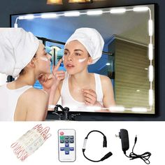 Make-up Vanity Mirror Light,60 Leds 9.8Ft Bathroom Vanity Light Kit for DIY Hollywood Cosmetic Make Up Mirror with Remote,Dimmer & Switch Power Supply(Mirror Not Included)