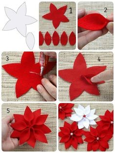 Christmas star The Effective Pictures We Offer You About DIY Fabric Flowers pattern A quality picture can tell you many things. You can find the most beautiful pictures that can be presented to you ab Felt Christmas Decorations, Felt Christmas Ornaments, Christmas Wreaths, Christmas Crafts, Diy Christmas Star, Christmas Poinsettia, Crochet Ornaments, Crochet Snowflakes, Diy Ornaments