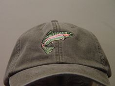 fa7a5c157d8ebd RAINBOW TROUT Fish Hat - One Embroidered Men Women Wildlife Cap - Price  Embroidery Apparel - 24 Color Mom Dad Fishing Gift Caps Available