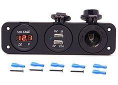 Cllena Triple Function Dual USB Charger + Red LED Voltmeter + Outlet Socket Panel Jack Marine For Digital Devices Mobile Phone Tablet: Item Specification:/bbr Wholesale Hair Accessories, Car Accessories, Cell Phone Accessories, Build A Camper Van, Amazon Electronics, Usb, Making Life Easier, Red Led, Charger