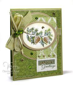 Handmade card by Christyne Kane using the Pinecone Christmas set from Verve.  #vervestamps
