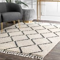 Shop for The Curated Nomad Philo Off-white Moroccan Trellis Plush Tassel Shag Area Rug. Get free delivery On EVERYTHING* Overstock - Your Online Home Decor Store! Get in rewards with Club O! White Shag Rug, White Rug, White Area Rug, Ivory White, Area Rugs For Sale, Rug Sale, Buy Rugs, Contemporary Rugs, Online Home Decor Stores