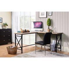 Banquo Brown Wood and Metal Corner Desk (Corner desk with metal base), Size Medium