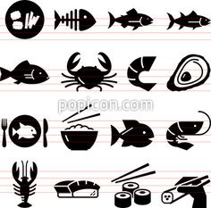 Seafood Icons - Black Series
