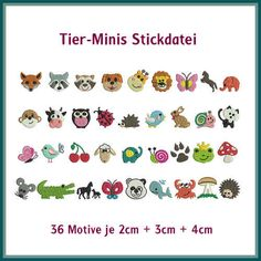 Minis Tiere Stickdatei http://www.rock-queen.de/epages/78332820.sf/de_DE/?ObjectPath=/Shops/78332820/Products/2094
