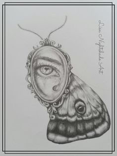 An illustration of a vintage mourning trinket mounted in a frame on a moth. #drawing #neosurrealism #LisaNightshadeArt #workinprogress