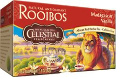 Sometimes called red teas, Rooibos teas are made with the needlelike leaves of the Rooibos bush (a native of South Africa)  Our Madagascar Vanilla Rooibos is rich with vanilla flavor for a sweet twist on your everyday red tea blend #HotTeaMonth #CelestialRooibosTea http://www.celestialseasonings.com/products/red-teas/madagascar-vanilla-red