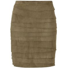 RALPH LAUREN BLACK Lea Vintage Moss Lightweight Suede Skirt ($1,040) ❤ liked on Polyvore