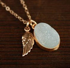 $60.00 Aqua Druzy Necklace with Wing Charm