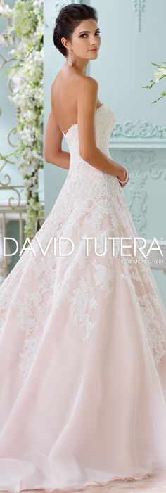The David Tutera for Mon Cheri Spring 2016 Wedding Gown Collection - Style No. 116202 Soleleil #laceweddingdresses  Jewelry by @davidtuteraembellish Yasmeen Drop Earrings www.davidtuteraembellish.com