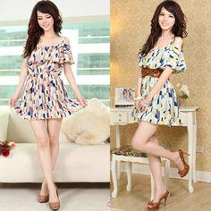 Korea Fashion Sexy Off Shoulder Ruffle Neck Geometric Pattern Mini Dress