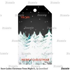 Shop Snow Laden Christmas Trees Night Sky Gift Tags created by LeonOziel. Christmas Trees, Christmas Holidays, Christmas Gifts, Stationery Craft, Gel Ink Pens, Custom Ribbon, Old Newspaper, Personalized Gift Tags, Vintage Gifts