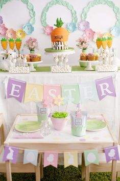 The pastel table settings at this Easter Party are adorable!! See more party ideas and share yours at CatchMyParty.com #catchmyparty #easterparty #tablesettings