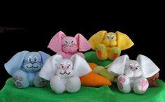 Baby Washcloth Bunny WashAgami ™ by TopsyTurvyDiaperCake on Etsy
