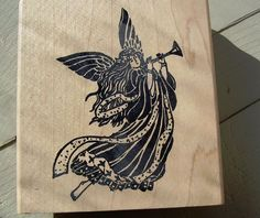 Rubber Stamp  ANGEL with Trumpet Wood Mounted #ASTAMPINTHEHANDCO