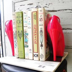 bookends repurposed cherry red high heel platform pumps