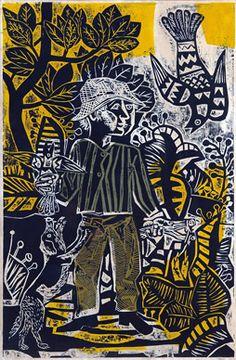 Antonio Berni, Juanito cazando pajaritos (serie Juanito Laguna) 1961, xilocollage.