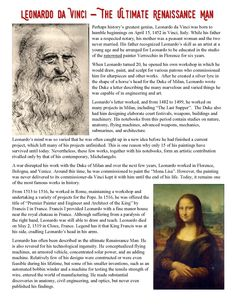 This engaging and interactive resource provides a 1 page reading on the Renaissance Man Leonardo da Vinci along with a reading worksheet, and two versions of an Interactive Notebook resource! Art History Lessons, Art Education Lessons, Geography Lessons, History Education, Teaching History, Reading Comprehension Worksheets, Reading Passages, Leonardo Da Vinci Renaissance, The Renaissance