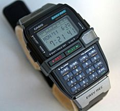Casio DBC-V50  Also released in the year 1999 was the DBC-V50, a Casio watch with a built-in voice recording feature - it could record 5 recordings with a total of 30 secs of sound, with the ability to use them as alarm sounds.
