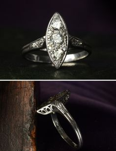 1930s Art Deco Navette Shaped Filigree Diamond Ring  Platinum, ~0.45ctw European & Single Cut Diamonds, $2250