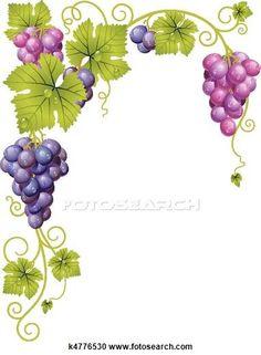 Stock Illustration of Vector grape frame