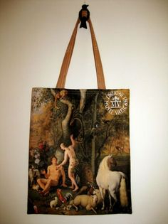 http://www.culturaltravelguide.com/how-to-plan-your-trip Adam and Eve in the Garden of Paradise bag, from the Musei Vaticani at the Vatican. Painting by Wenzel Peter, Pinacoteca. #Vatican #VaticanMuseum #handbag  #MuseiVaticani #museums
