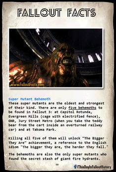 i wonder what is in the mind of Super Mutant Behemoth, the smaller super mutant can think and talk, they're just savage and dumb, but behemoth is a pure brute force. Fallout Tips, Fallout Lore, Fallout Facts, Fallout Funny, Fallout Vault, Fallout 3 New Vegas, Vault Dweller, Fallout Cosplay, Bethesda Games