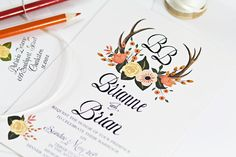 Hand Painted Floral & Deer Antler Wedding Invitation.  Shown here in Fall colors. At Behold Designz we can color customize any of our designs.
