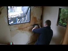 How to - Repair a Caravan Water Leak Damage - Part 3 - Wall Board Cutting Gluing & Fitting - - YouTube