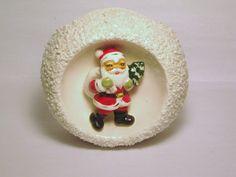 Vintage Christmas Santa Claus porcelain 3-D figurine  Snowball spaghetti trim Snow Relpo Planter Candy Cane dish Japan Ornament Decoration