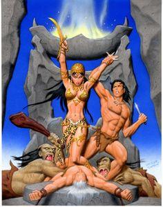 Fastner & Larson -- Tarzan and La of Opar (color study) Comic Art